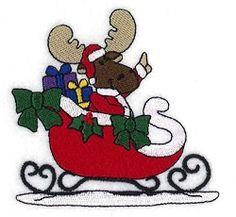 Christmas Sleigh Moose - 4x4 | Christmas | Machine Embroidery Designs | SWAKembroidery.com Starbird Stock Designs