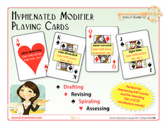 HYPHENATED ADJECTIVE PAYING CARDS: 6 lessons for using the 52 grammar and writing practice cards are included.  (priced) Watch one of the lesson ideas in this YouTube Playing Card Demo:  http://www.youtube.com/watch?v=NsFc1FYwJhg&feature=youtu.be