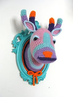 Crochet deer head in a turquoise frame. by ManafkaMina on Etsy