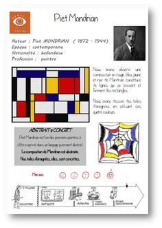 Piet Mondrian, Art History Lessons, Art Lessons, Documents D'art, Mondrian Art Projects, Art Handouts, Art Through The Ages, Art Worksheets, Ecole Art