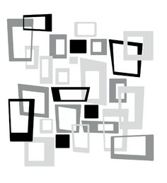 Retro-Modern Squares Wall Decals Pack | DecalMyWall.com