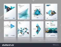 Brochure Template Layout, Cover Design Annual Report, Magazine, Flyer In A4 With Green Polygonal Triangles, 3d Mesh Polygons, Rounds, Lines, Explosion For Business And Sale Shopping. Vector Set. - 483339811 : Shutterstock