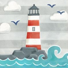 Found it at AllModern - Let's Set Sail Lighthouse by Anne Bollman Canvas Art