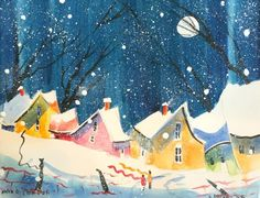 Dot Art Painting, House Painting, Painting & Drawing, Winter Painting, Snow Scenes, Learn To Paint, Naive, Folk Art, Art Projects