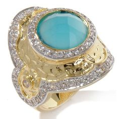 hsn Suzanne Somers Yellow Gold GP 1.62ct CZ & Blue Faceted Stone Malibu Ring 7 #SuzanneSomers #SolitairewithAccents