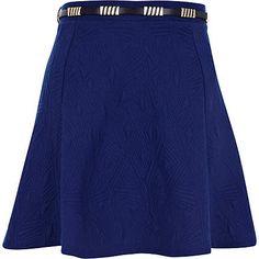 Blue textured belted skater skirt - River Island price: £20.00