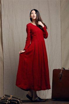 maxi dress / red dress / linen dress / winter by camelliatune