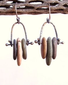 Earrings  Sterling Silver  Stacked Beach Stones  by rmddesigns, $36.00