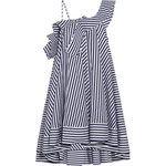 MSGM One-shoulder ruffled striped cotton mini dress
