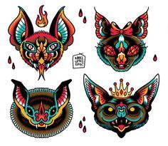 Going Batty Flash Sheet Art Print by kateordie Traditional Tattoo Bat, Traditional Tattoo Inspiration, Traditional Tattoo Old School, Bug Tattoo, Knee Tattoo, Real Tattoo, Dibujos Tattoo, Desenho Tattoo, Tattoo Drawings