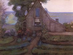 Triangulated Farmhouse Facade with Polder in Blue by Piet Mondrian