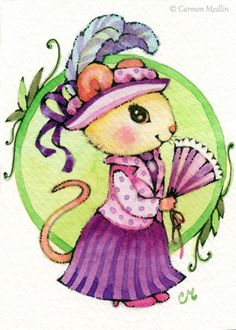 """Edwardian Lady Mouse"" cute mouse art by Carmen Medlin. 5x7"" print, $4.75"