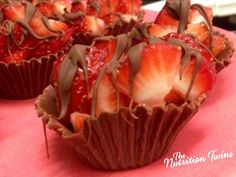 Homemade Chocolate Fruit Cups | Easy, Healthy, Delish! | Only 122 CALORIES for large, Only 60/ Per Mini cupcake! | For MORE RECIPES please SIGN UP for our FREE NEWSLETTER www.NutritionTwins.com