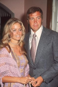 Married American actors Farrah Fawcett (then known as Farrah Fawcett-Majors) (left) and Lee Majors pose together as they attend a party for ABC-TV screen celebrities, June 1971. (Photo by Pictorial Parade/Getty Images)
