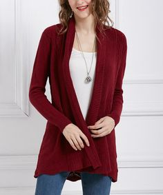 cf9a00ebf5 Another great find on  zulily! Wine Pocket Open Cardigan  zulilyfinds  Sweater Outfits