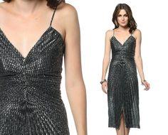 Disco BLACK SILVER Dress 70s Gown Accordion Pleated Metallic 1970s Party Glam Deep V Spaghetti Strap Sexy Vintage Grecian Dress Small S. $69.00, via Etsy.