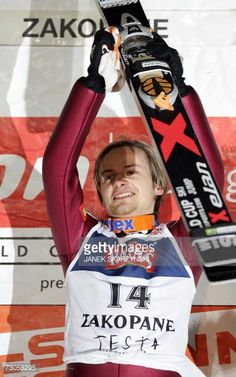 Rok Urbanc from Slovenia celebrates his win in the ski jump competition at the podium during the World Cup in Zakopane 20 January 2007 Urbanc won the...