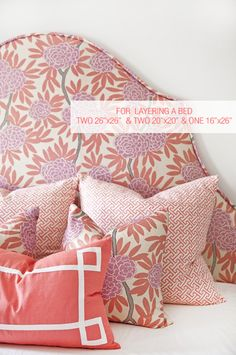 For some time now I have been a Caitlin Wilson groupie. Caitlin Wilson is a talented US interior designer who has a beautiful range of her own textiles. Headboard Shapes, Pink Headboard, Pink Bedding, Textiles, Big Girl Rooms, Kids Rooms, Pink Room, Pattern Mixing, Custom Pillows