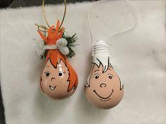 Pebble and Bam Bam by jrenees. Lightbulb ornaments