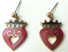 Guilloche Cloisonne Enamel,  Red Luckenbooth heart drop earrings by Fine Enamels, Fish and Crown.  Each earring is formed in a Luckenbooth heart design. With vibrant red and black enamel detailing and 22ct gold plating. Luckenbooth jewellery pieces were originally exchanged in Scotland as tokens of love,