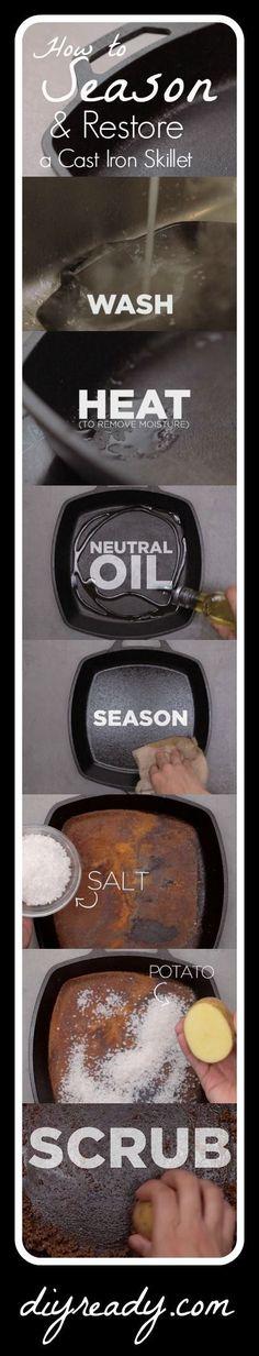 How to Season & Restore a Cast Iron Skillet | Kitchen DIY