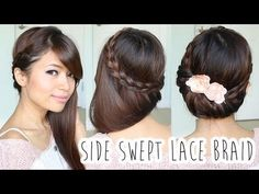 ▶ Fold-over Lace Braid Updo Hairstyle Hair Tutorial - YouTube