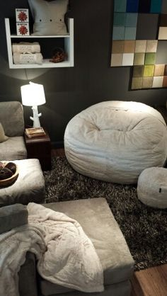 Lovesac Stonebriar.  Shown Camel Phur Supersac with a Taupe Sactional