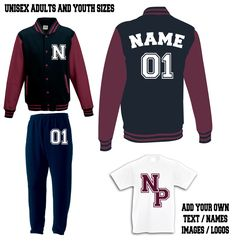 custom printed sweatsuit varsity jacket tracksuits add teams logo  <