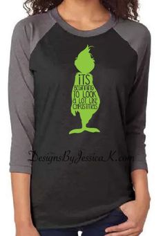The Grinch Unisex Adult Mens or Womens Baseball Raglan T-shirt. It's Beginnging To Look A Lot Like Christmas Grinch Design. Black and Green by DesignsByJessicaK on Etsy