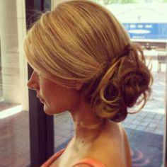 side bun by Gokhan! Formal event updo style, low bun, side-swept low bun, bridal hair