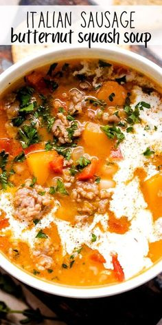 Easy Soup Recipes, Dinner Recipes, Cooking Recipes, Healthy Recipes, Healthy Fall Soups, Summer Soup Recipes, Italian Sausage Recipes, Butternut Soup, Recipes With Butternut Squash