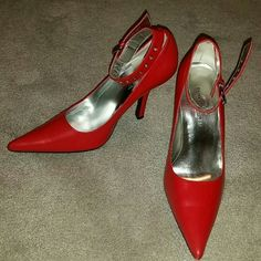 """Chinese Laundry Red Heels sz 7.5 Red pointed toe heels, with ankle straps and silver hardware detail.  Excellent Condition, these were worn once for about 2 hours. Please see photo #2, the little strap that holds the ankle strap down is gone (clasp etc is fine), it doesn't come undone, but does need mentioning. I have a VERY old school shoe guy I love who would hand make one for $12; to me this is not worth it to sell, but for someone to keep these shoes, it's a worthwhile investment!  4""""…"""