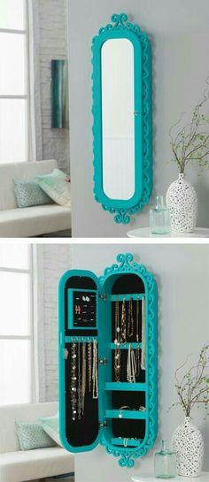 Idéias inspiradoras  Espelho e armário para guarda acessórios