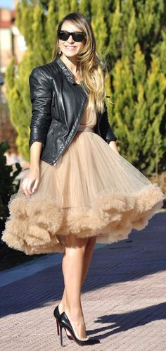 Tulle Dress and Moto jacket