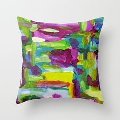 Indecision  This made to order throw pillow cover is based upon my original abstract art of the same title. Available sizes (in inches): - 16x16 - 18x18 - 20x20 - 24x24  Care Instructions: Machine wash cold on gentle cycle or hand wash with a mild detergent, air dry.  This pillow cover will be printed, individually cut, and hand sewn out of sturdy 100% spun poly poplin canvas fabric. My original art is printed onto the fabric using a technique called dye sublimation which uses heat to…