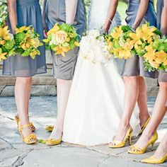 A creative Colorado wedding with a sunny yellow and light charcoal color palette.