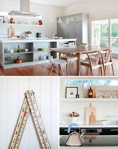 Tony Jarratt's Brisbane home. Love the flow between the shaker kitchen and the dining room.  Not a fan of the huge open shelves in front of the island. Love the glass pendants, white benchtops and crown molding above the cupboards.  Also love the peekaboo window above the floating shelves