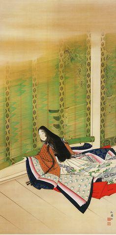Uemura Shoen Lady Sei Shonagon Rolling up a Reed Blind, 1895 Heian Era, Heian Period, Geisha Art, Art Asiatique, Art Japonais, Japanese Painting, Art Graphique, Japanese Prints, Japan Art