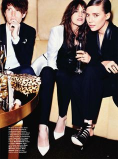 talented bunch: James Blake, Charlotte Gainsbourg and Lykke Li in Harper's Bazaar