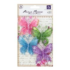 """These fanciful Prima Bright Swallowtail Butterflies are made with fabric and glitter.    There are four butterflies that measure about 2 1/2"""" x 2 1/2"""" in a package."""