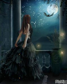 Quite Brilliant.A Gothic Art Painting. Fantasy World, Dark Fantasy, Fantasy Art, Arte Obscura, Moon Art, Gothic Beauty, Stars And Moon, Wiccan, Magick