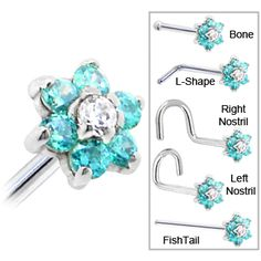 Solid 14KT White Gold Mint Green and Clear Cubic Zirconia Flower Nose Ring | Body Candy Body Jewelry #bodycandy #piercings #nosering