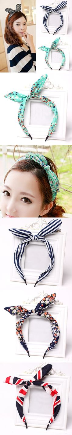 LNRRABC New Arrival Women Girls Bow Headbands Lovely Dots/Stripe/Floral/Leopard Rabbit Ears Hairbands Women Hair Accessories