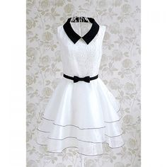 Vintage Doll Collar Splicing Floral Embroidery Women's Dress With A Bow Tie | TwinkleDeals.com http://www.twinkledeals.com/casual-dresses/vintage-doll-collar-splicing-floral/p_55008.html?lkid=2811