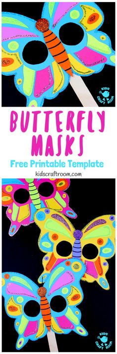 Free Printable Template: Colorful Butterfly Masks