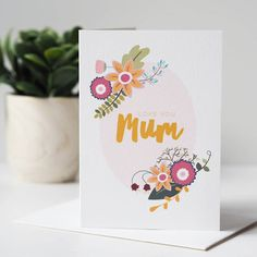 Floral Love You Mum Mother's Day Card by Sweetlove Press, the perfect gift for Explore more unique gifts in our curated marketplace. Love You Mum, Love Her, Baby Birth, Gifts For Mum, Personalized Baby, Hand Lettering, Crisp, Card Stock, Envelope