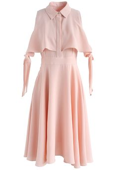 Face Your Loveliness Cold-Shoulder Dress in Pink - New Arrivals - Retro, Indie and Unique Fashion