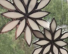 Stained glass window hangings   Etsy Different Textures, Different Colors, Pewter Color, Window Hanging, Stained Glass Projects, Dark Skies, Sun Catcher, Stained Glass Windows, Snowflakes