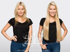 "Before and after ZALA Honey beach highlights 24"" clip in hair extensions"