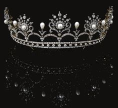 Antique Tiara (ca. 1900; pearls, diamonds).
